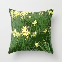 Daffodil Field Throw Pillow