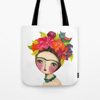 Frida And The Bird In Her Hair Tote Bag