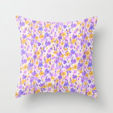 Flower Field Yellow Lilac Throw Pillow
