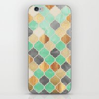 Charcoal, Mint, Wood & G… iPhone & iPod Skin