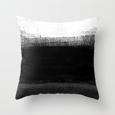 Ocean No. 2 - Minimal ocean abstract painting in black and white Throw Pillow