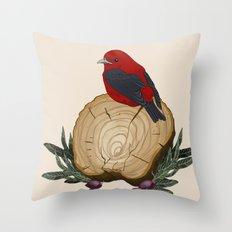 Bird on a Log Throw Pillow