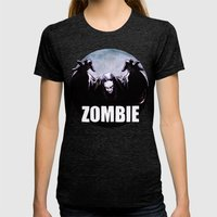 ZOMBIE Womens Fitted Tee Tri-Black SMALL