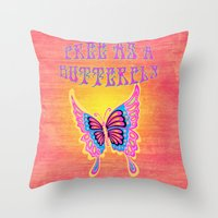 Free As A Butterfly Distressed Throw Pillow