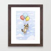 Cat With Balloons Grumpy… Framed Art Print