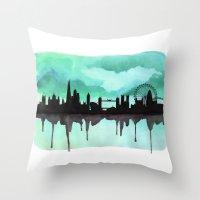 Mint Green London Skyline 2 Throw Pillow