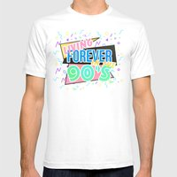 Living Forever In The 90s Mens Fitted Tee White SMALL