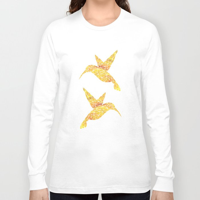 Hummingbird Yellow Long Sleeve T Shirt By Victorygarlic
