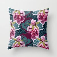 Modern Baroque Rose Throw Pillow
