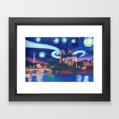 Starry Night in Paris - Van Gogh Inspirations with Eiffel Tower and Notre Dame Framed Art Print