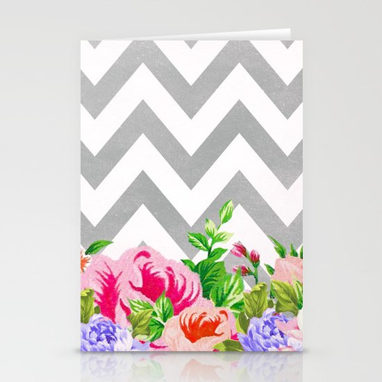FLORAL GRAY CHEVRON Stationery Card