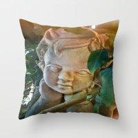 The Pondering Cherub Throw Pillow