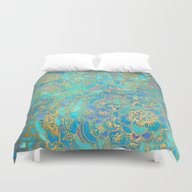 Duvet Cover featuring Sapphire & Jade Stained … by Micklyn