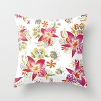 Tropical Flowers Watercolor Throw Pillow