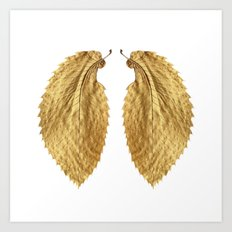 Gold Leaf Wings on White Art Print