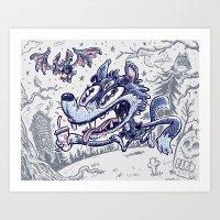 Wolf & bat Art Print