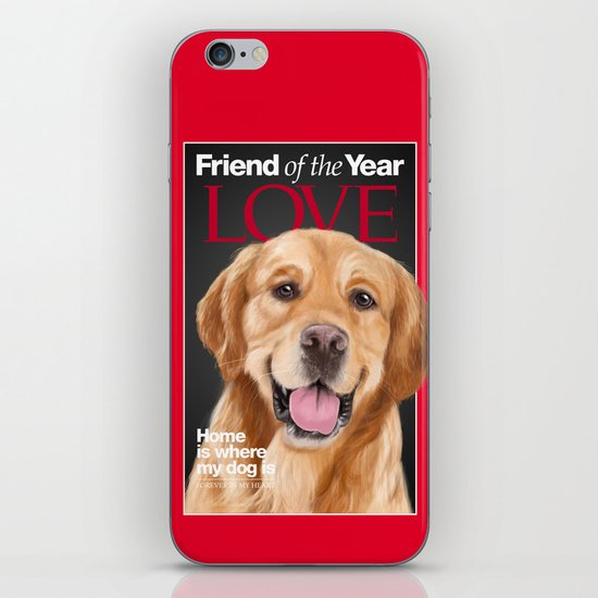 Portrait of a lovely Golden Retriever on a Time Magazine cover iPhone & iPod Skin