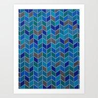 Blue and grey hue chevron Art Print