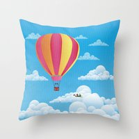 Picnic In A Balloon On A… Throw Pillow
