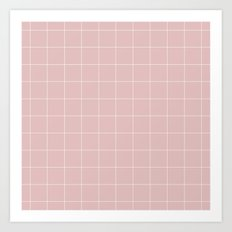 Pink and White Grid ///www.pencilmeinstationery.com Art Print