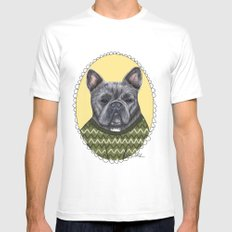 French Bulldog SMALL White Mens Fitted Tee