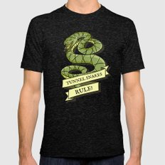 Tunnel Snakes Rule! Mens Fitted Tee Tri-Black SMALL