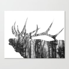 Elk Silhouette (in the trees) Canvas Print