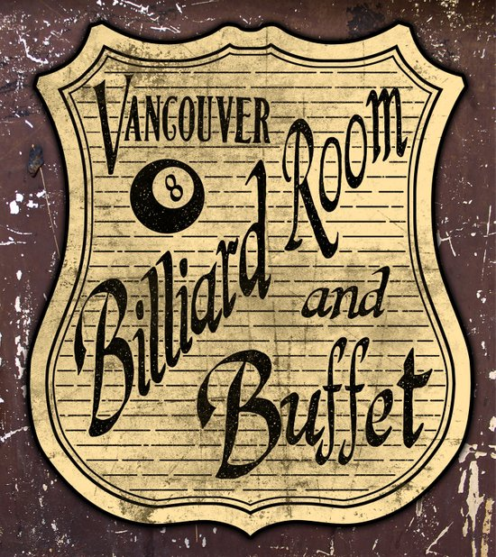 Vintage Vancouver Billiard Sign Canvas Print