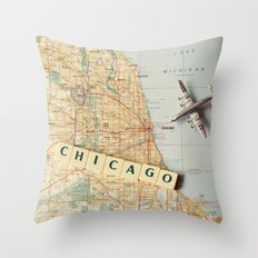 Let's Fly To Chicago Throw Pillow
