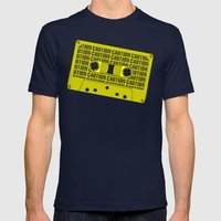 Caution Tape Mens Fitted Tee Navy SMALL