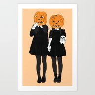 Pumpkin Heads Art Print