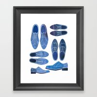 Blue Brogue Shoes Framed Art Print