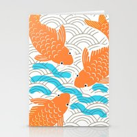 Stationery Card featuring Lucky Fish by Pink Pagoda Studio / Barbara Perrine Chu