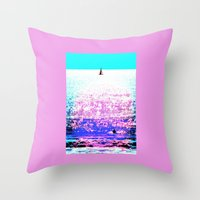 Sailboat And Swimmer (2d… Throw Pillow