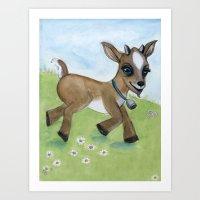 Alfie the Goat, a barnyard animal portrait Art Print