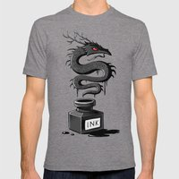 Ink Dragon Mens Fitted Tee Tri-Grey SMALL