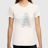 Abstract Christmas Tree … Womens Fitted Tee Natural SMALL