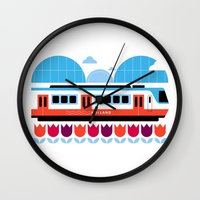 Postcards from Amsterdam / Train and Tulips Wall Clock