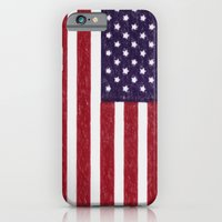 iPhone Cases featuring United states national flag - the Crayon and colored pencils version by Bruce Stanfield