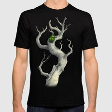 Golden beetle on branch Mens Fitted Tee Black SMALL