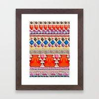 Watercolour Red Aztec Framed Art Print