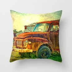 Old Rusty Bedford Truck Throw Pillow