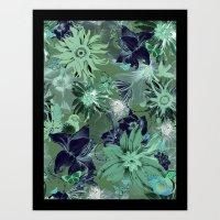 Flora Fauna (Pattern) Art Print