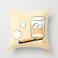 Cigar And Booze Throw Pillow
