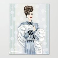 Woman With Fur  Canvas Print