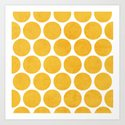 yellow polka dots Art Print