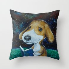 Dog Reading Throw Pillow