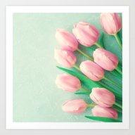 Mint Tulips Art Print