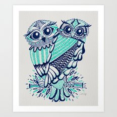 Owls - Turquoise & Navy Art Print