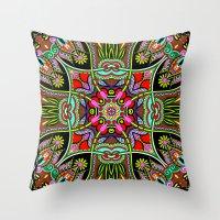 Green Boho Fantasy Pattern Throw Pillow